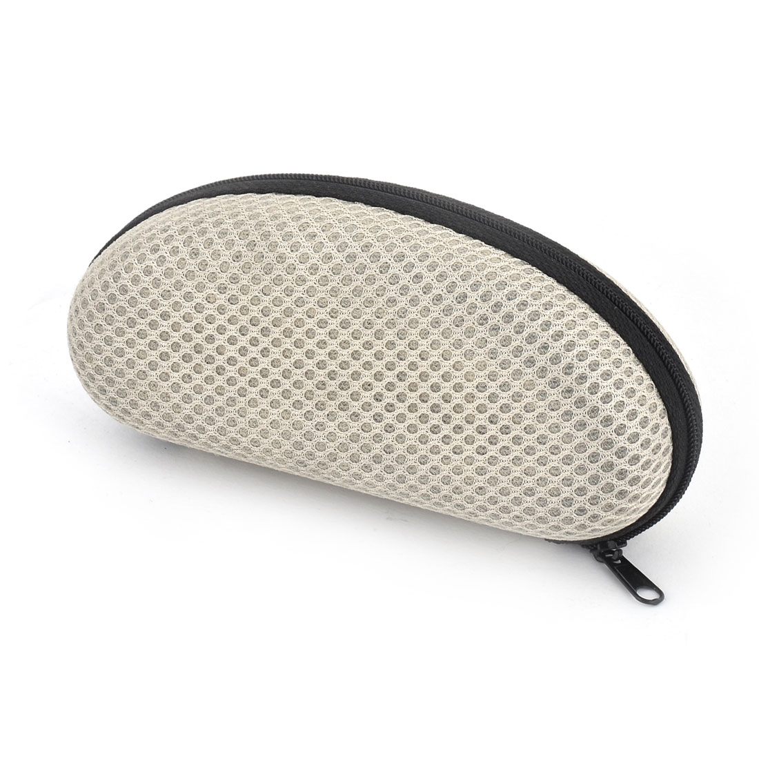 Nylon Lining Oval Shaped Zipper Closure Glasses Box Case Beige Black