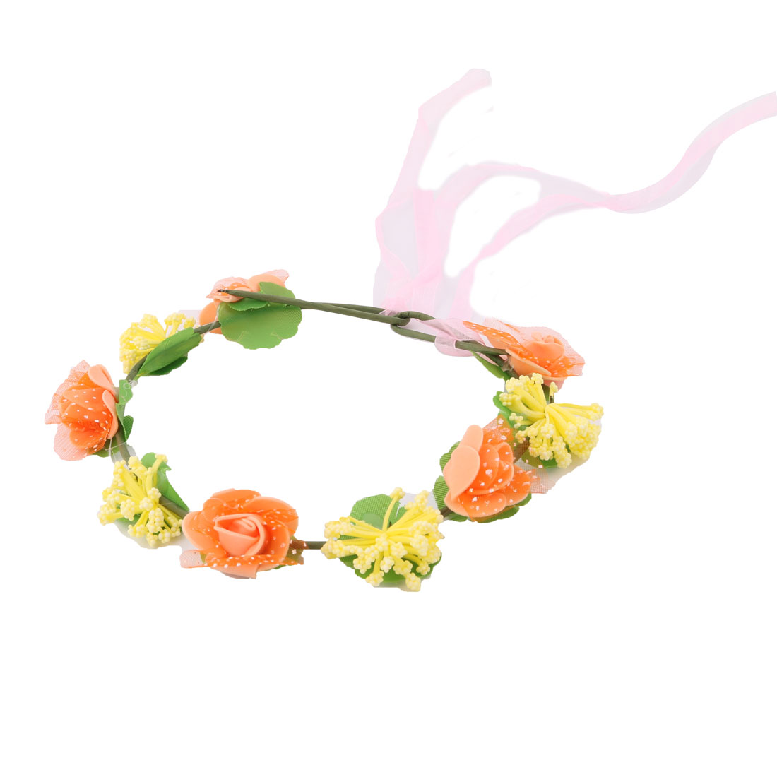 Women Festival Seaside Artificial Rose Ribbon Hair Bands Garland Head Wreath