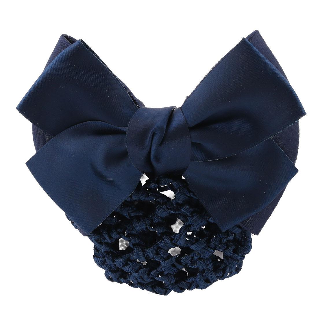 Household Women Bowknot Shaped Hairdressing Hairnet Hairclip Hair Snood Barrette Dark Blue