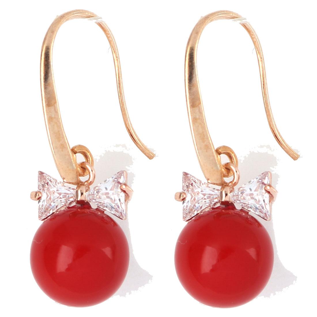 Household Women Jewelry Round Beads Bowtie Decor Ear Hook Dangling Earrings Red