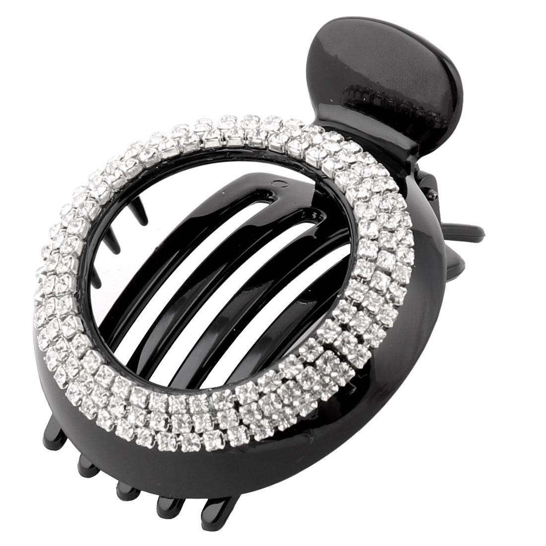 Household Women Plastic Rhinestone Decor Hairdressing Teethed Hair Clip Black