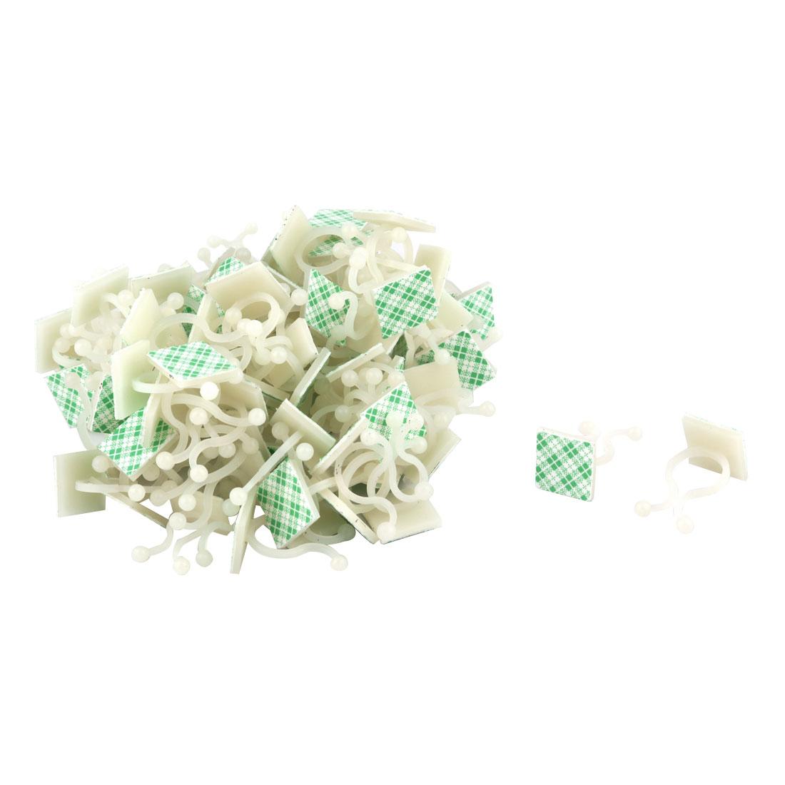 Plastic Square Self Adhesive Wire Cable Clip Tie Organizer 20 x 20mm 66pcs