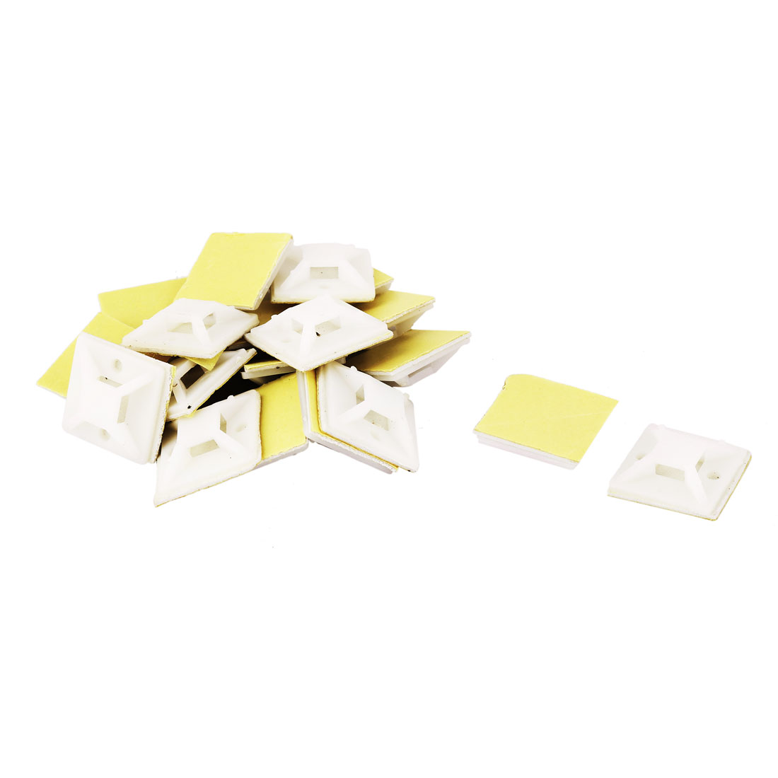 Wall Plastic Self Adhesive Cable Tie Mount Base White 25mm x 25mm x 8mm 20 PCS