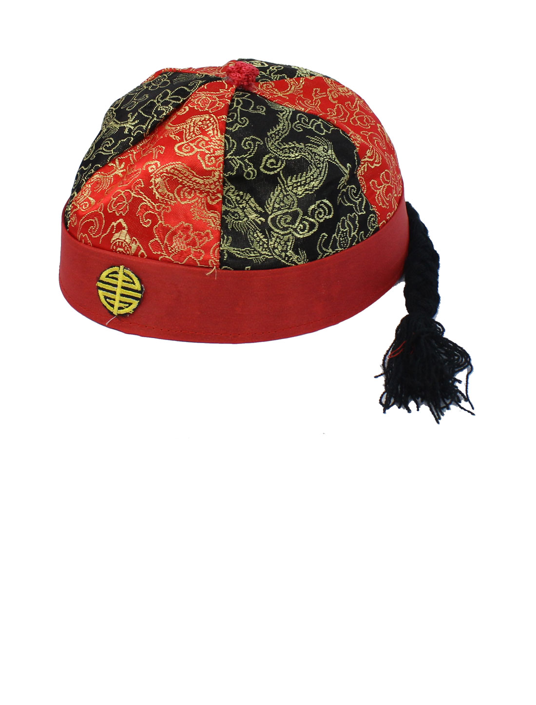 Feast Dragon Pattern Chinese Landlord Oriental Hat Cap Party Costume Red