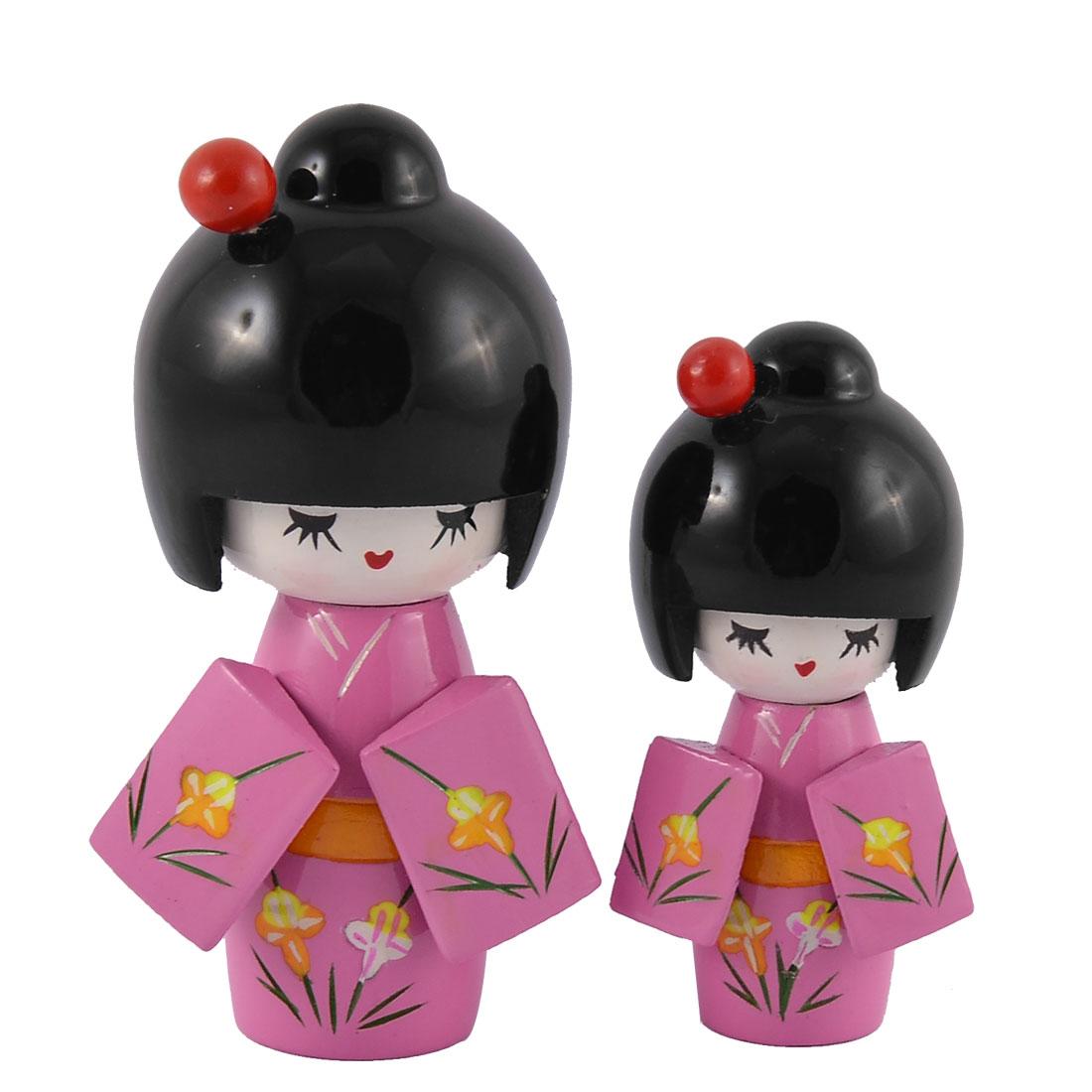 2 in 1 Pink Wooden Japanese Kimono Kokeshi Art Doll Girl Desk Ornament