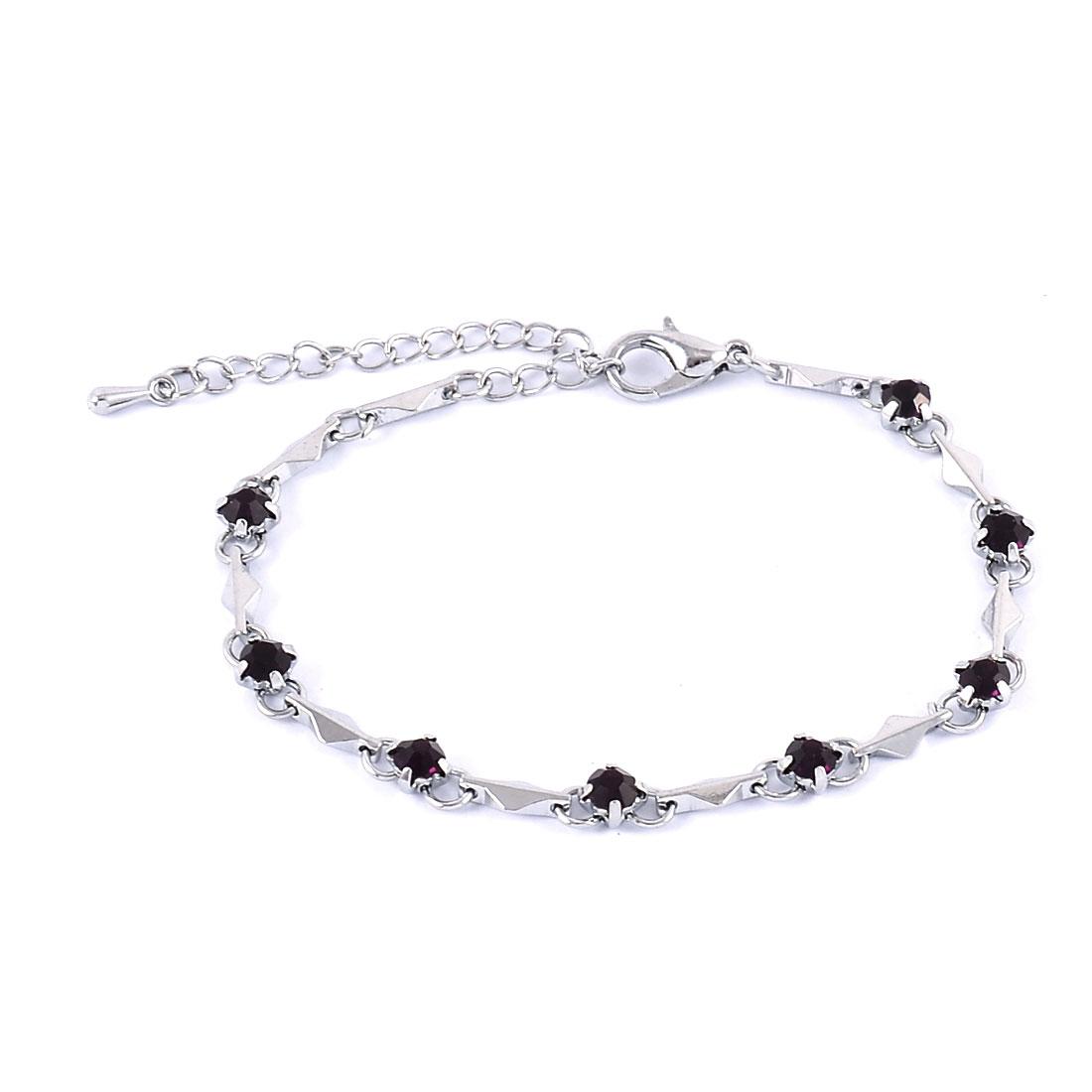 Woman Round Ornament Bead Linked Elastic Wrist Bangle Bracelet Dark Brown