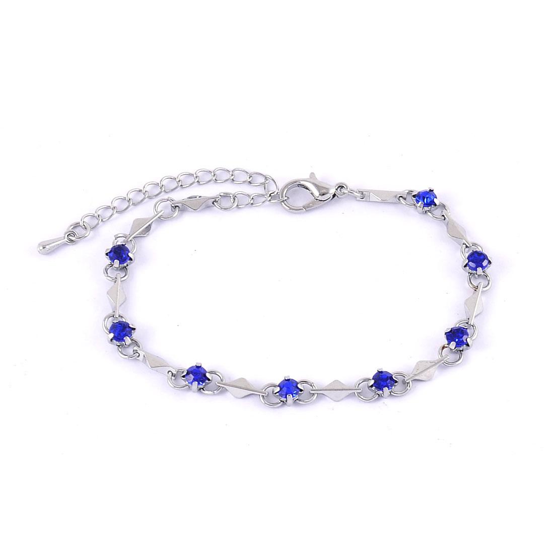 Ladies Round Artifical Ornament Beaded Bracelet Wrist Bangle Royal Blue