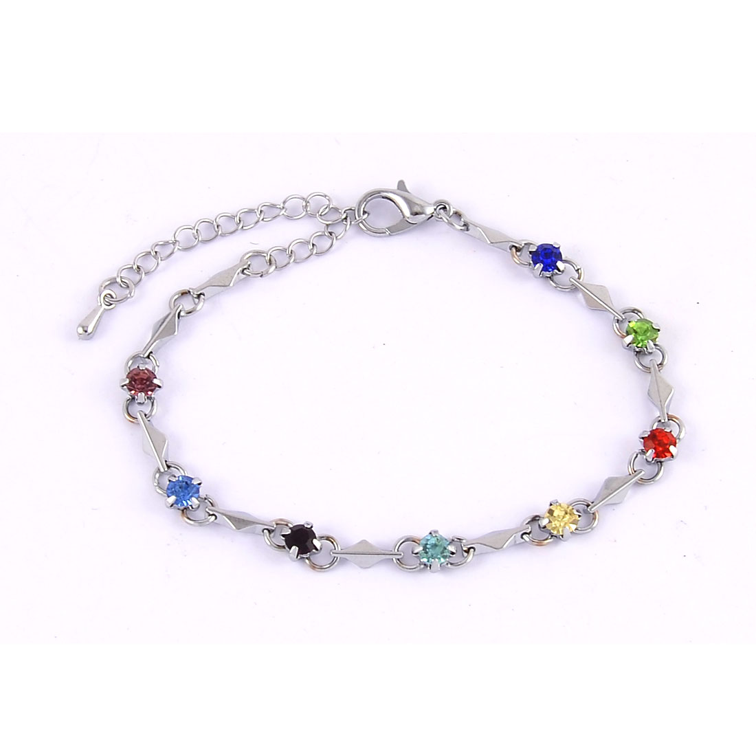 Ladies Metal Ornament Manmade Bead Linked Band Bracelet Multicolor