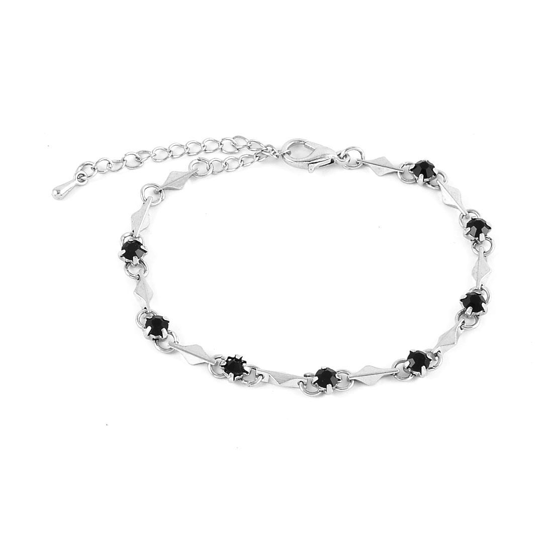 Women Manmade Decoration Wrist Chain Bangle Bracelet Black Silver Tone