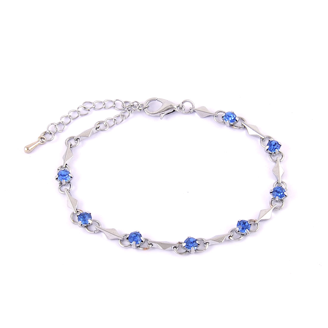Women Metal Decorate Manmade Beaded Wrist Bangle Bracelet Dodger Blue