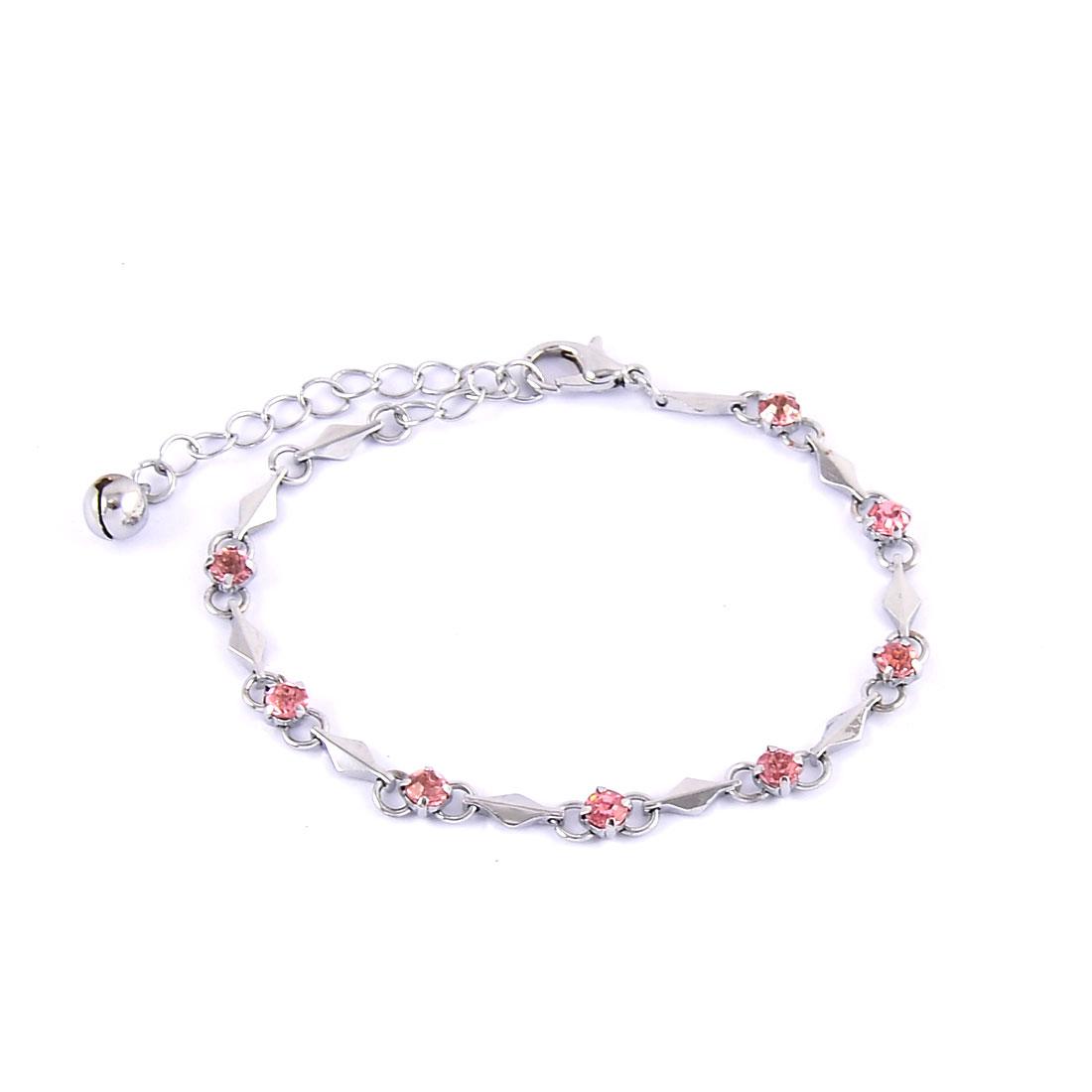 Ladies Metal Manmade Crystal Decoration Wrist Chain Bangle Bracelet