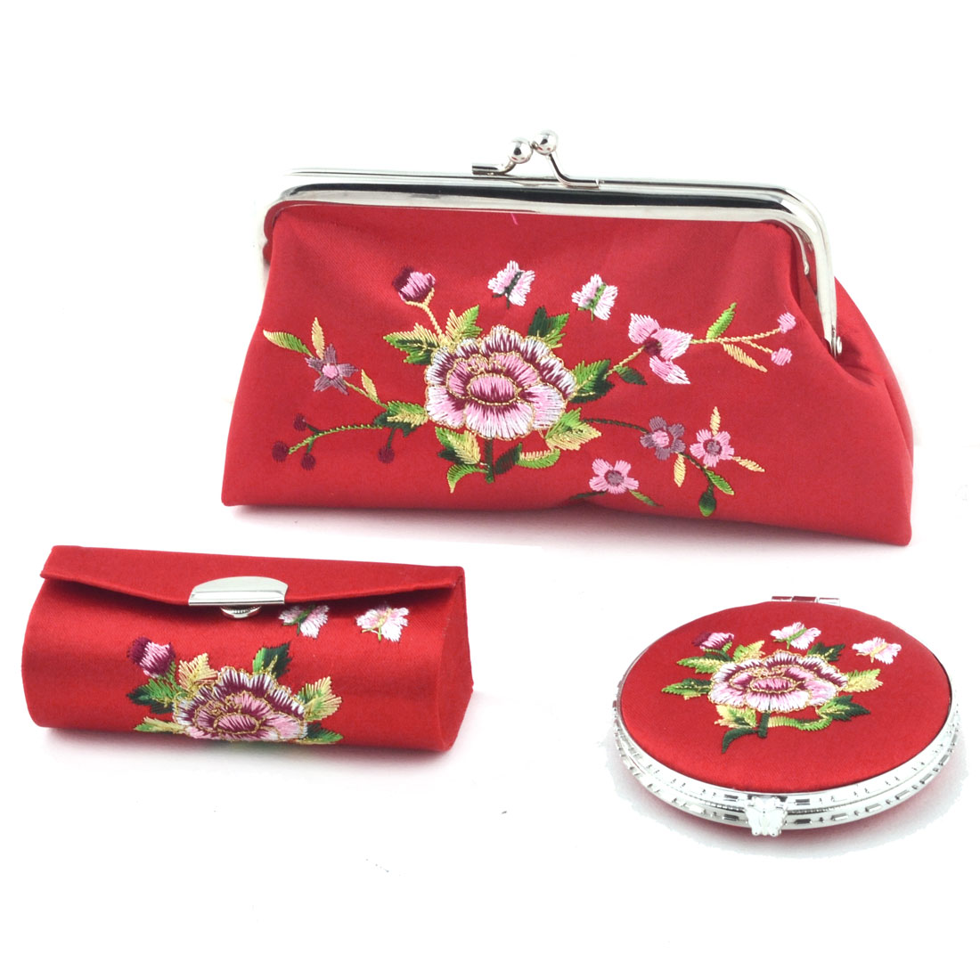 Lady Mercery Flower Print Classical Style Wallet Mirror Jewelry Make-up Box Set Red
