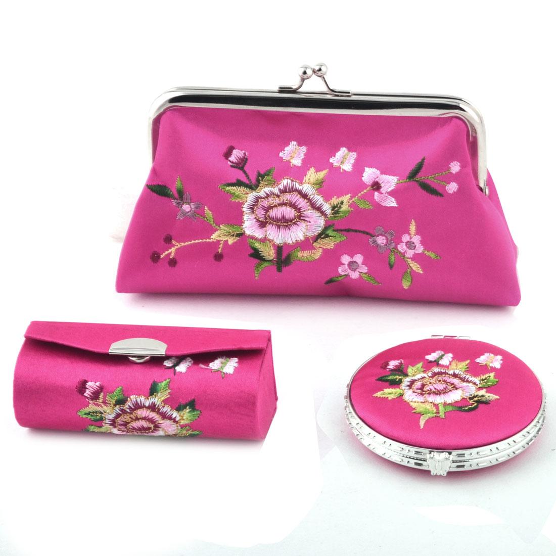 Lady Mercery Flower Print Classical Style Wallet Mirror Jewelry Make-up Box Set Fuchsia