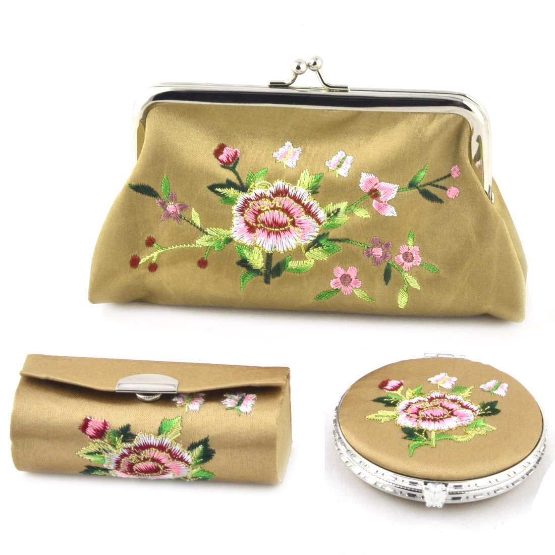Lady Mercery Flower Print Classical Style Wallet Mirror Jewelry Make-up Box Set Khaki
