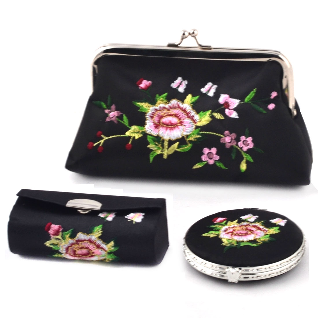Lady Mercery Flower Print Classical Style Wallet Mirror Jewelry Make-up Box Set Black