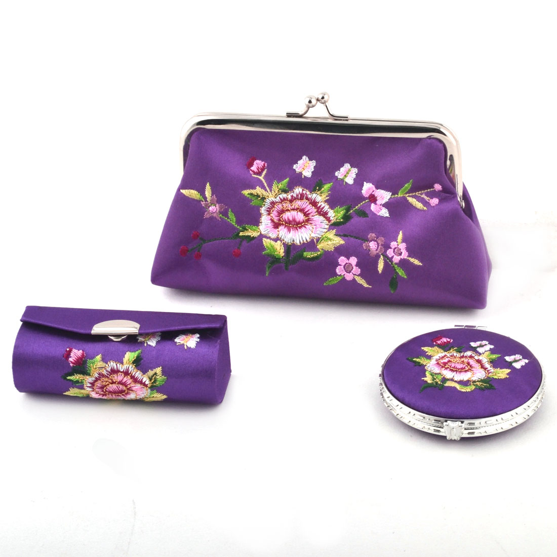Lady Mercery Flower Print Classical Style Wallet Mirror Jewelry Make-up Box Set Purple