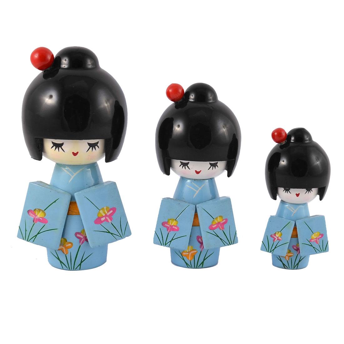 Home Wooden Japanese Doll Girl Desk Desktop Decoration Light Blue 3 in 1