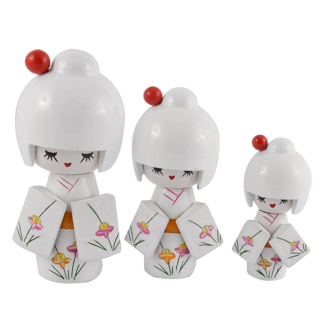 Home Wooden Japanese Doll Girl Desk Desktop Decoration White 3 in 1