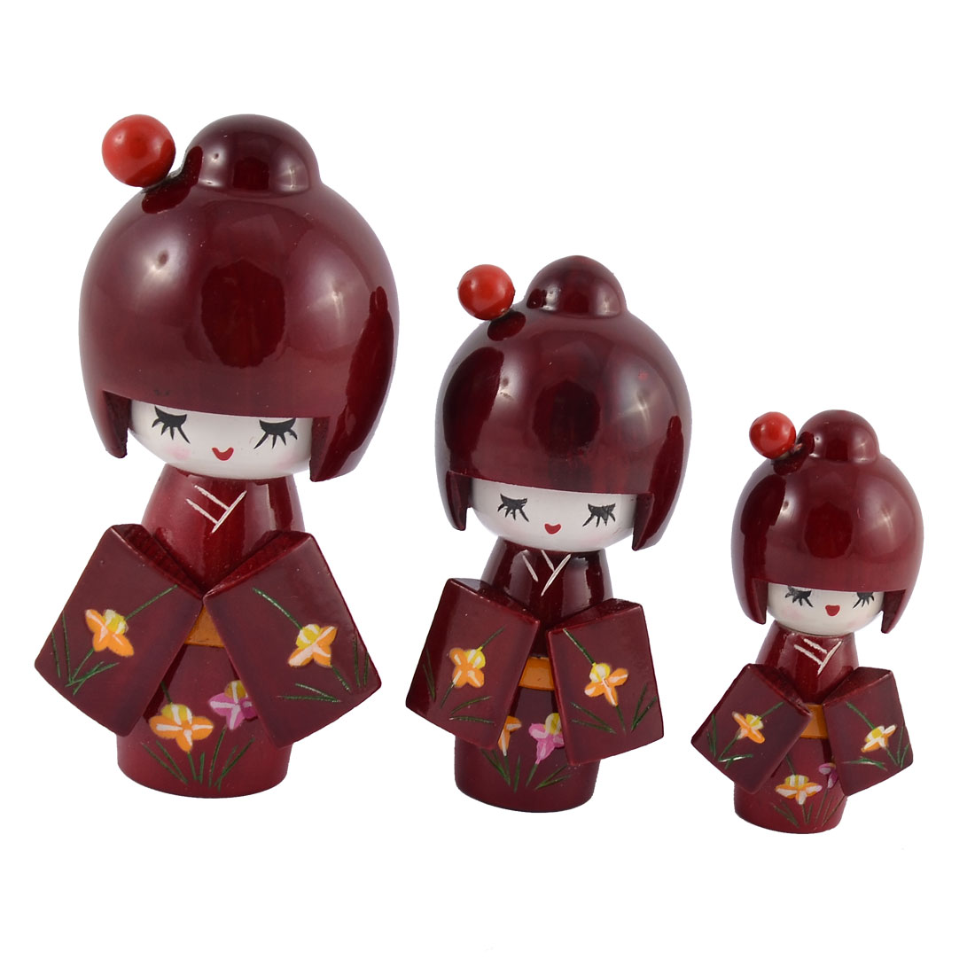 Home Wooden Japanese Doll Girl Desk Desktop Decoration Burgundy 3 in 1