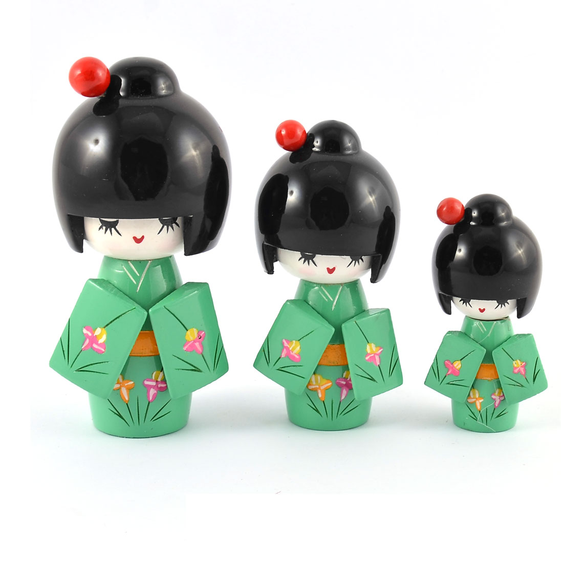 Home Wooden Japanese Doll Girl Desk Desktop Decoration Green 3 in 1