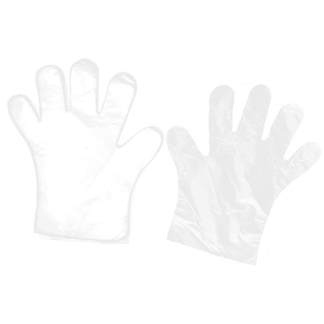 Home Kitchen Restaurant Hygiene Food Service Hand Disposable Gloves Clear 100pcs