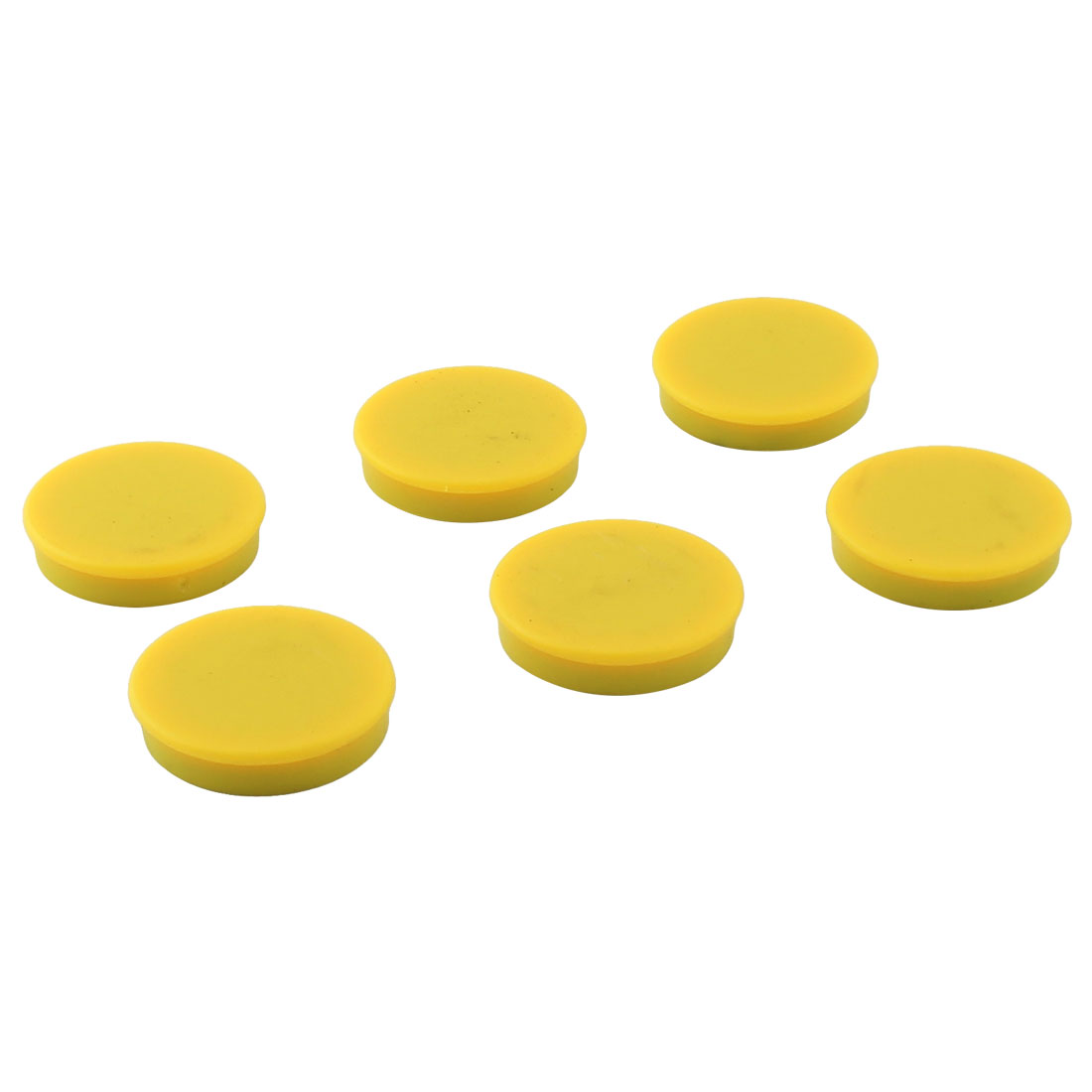 Home Plastic Shell Round Shaped Fridge Magnetic Sticker Yellow 6pcs