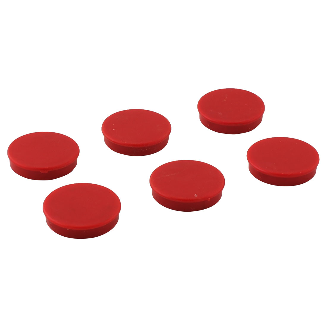 Office Home Plastic Shell Round Shaped Fridge Magnetic Sticker Red 6pcs