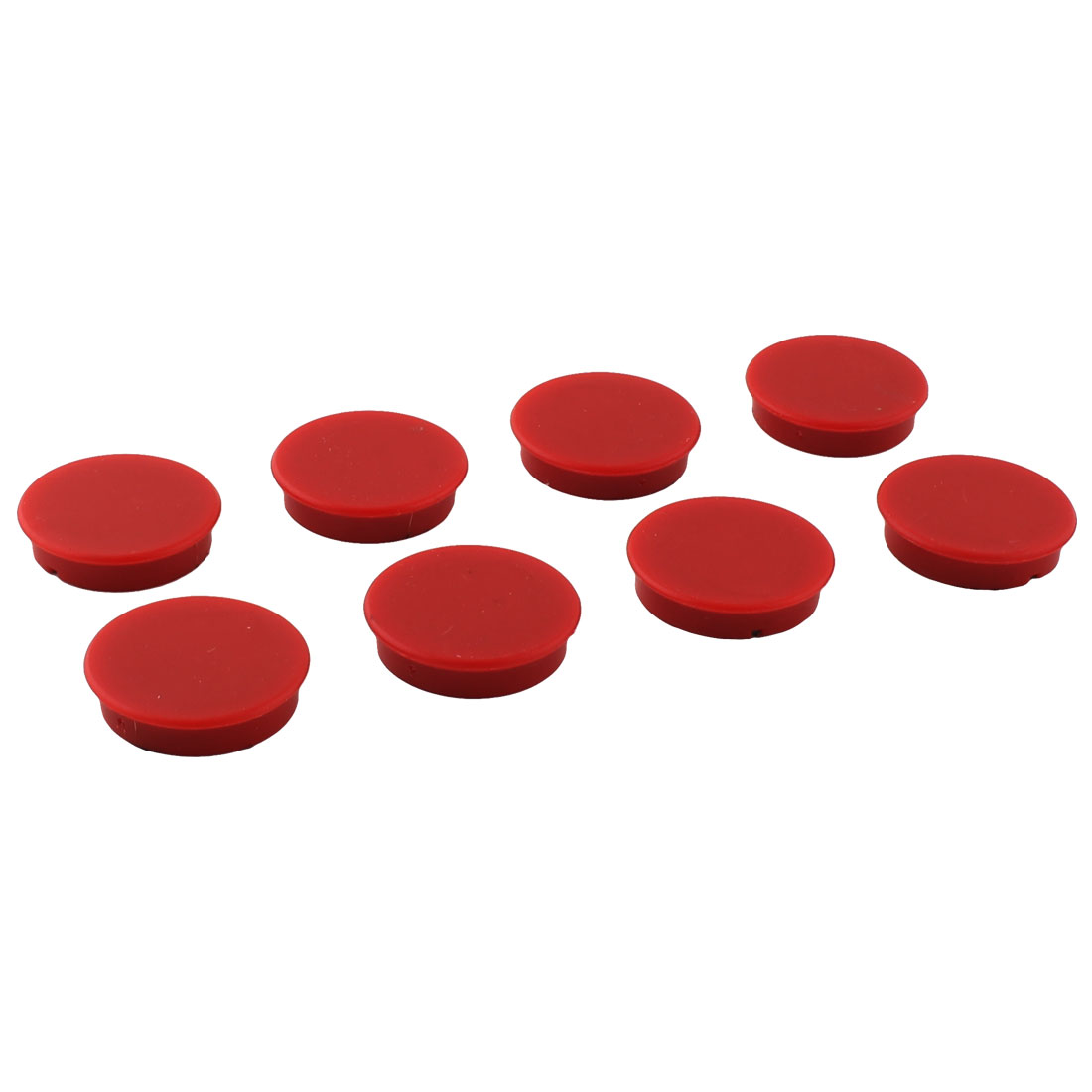 Office Home Plastic Shell Decoration Round Shaped Refrigerator Magnetic Sticker Red 8pcs