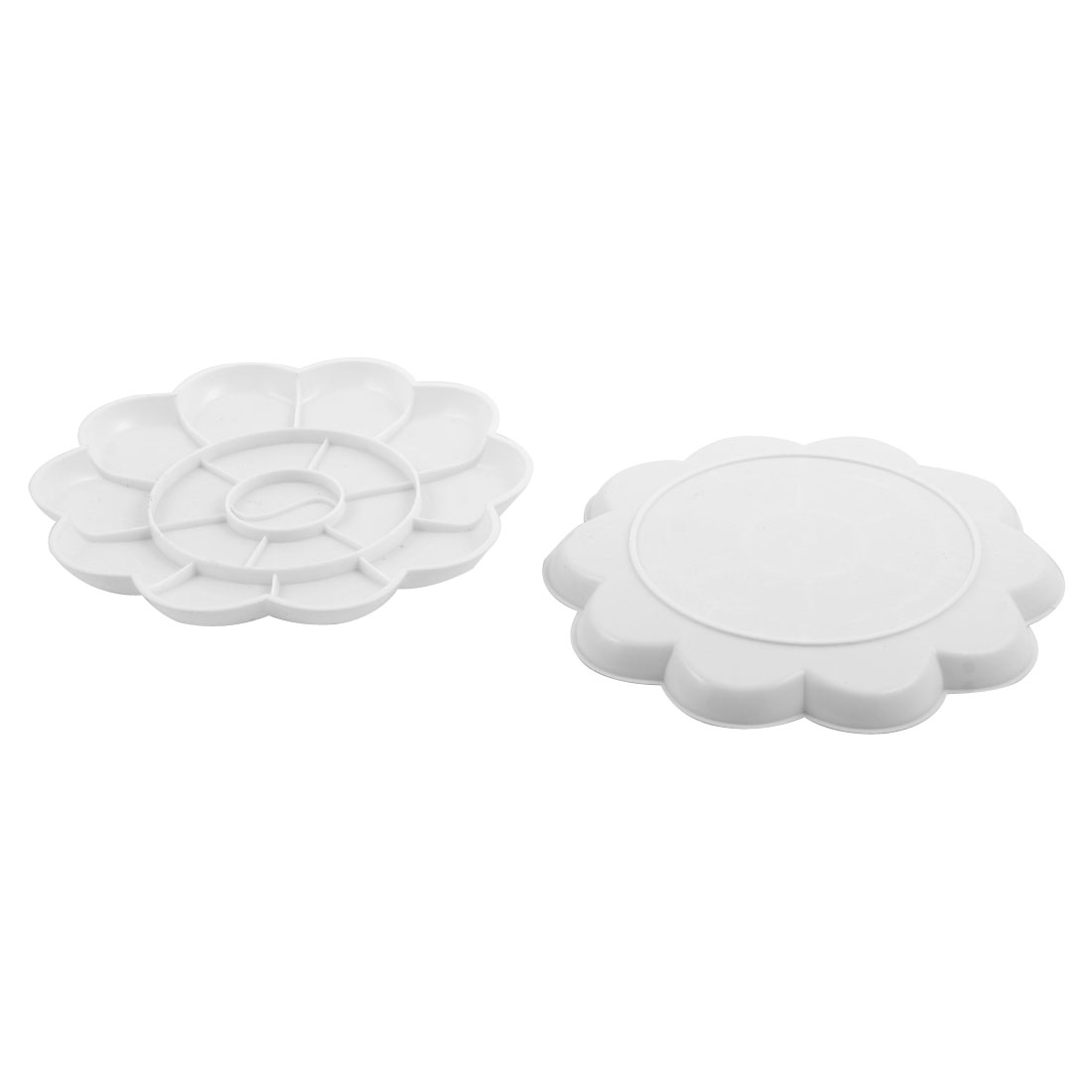 Students Plastic 18 Compartments Paint Painting Mixing Palette Plate White 2pcs