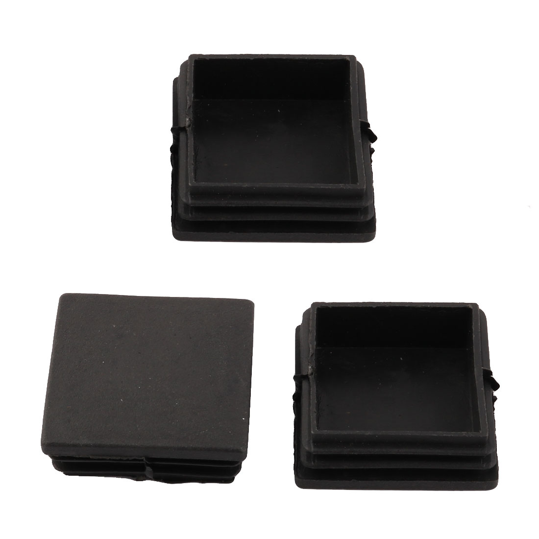 Home Office Plastic Square Shaped Table Chair Desk Leg Foot Tube Pipe Insert Cover Black 3pcs