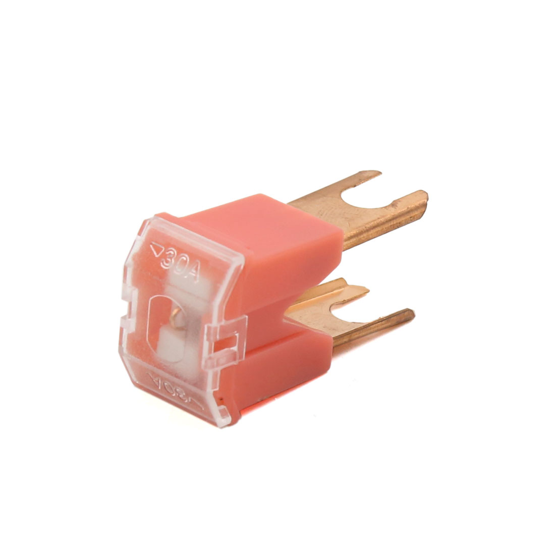 Red Copper Tone 30A Straight Terminal Slow Blow Male PAL Fuse for Car Vehicle