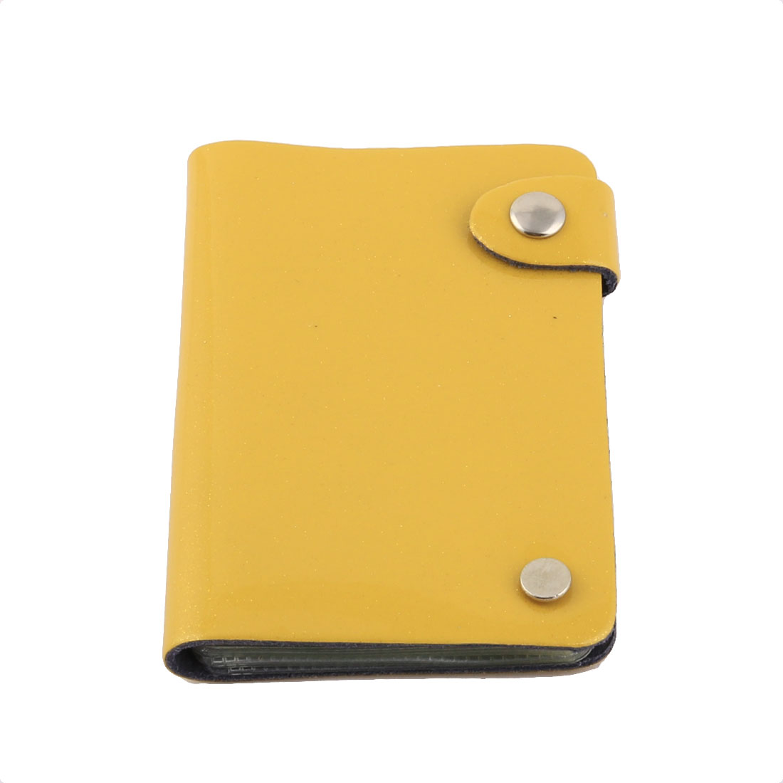 Outdoor Travel Faux Leather Cover Rectangle Button Press Bank Credit Card Holder Container Yellow