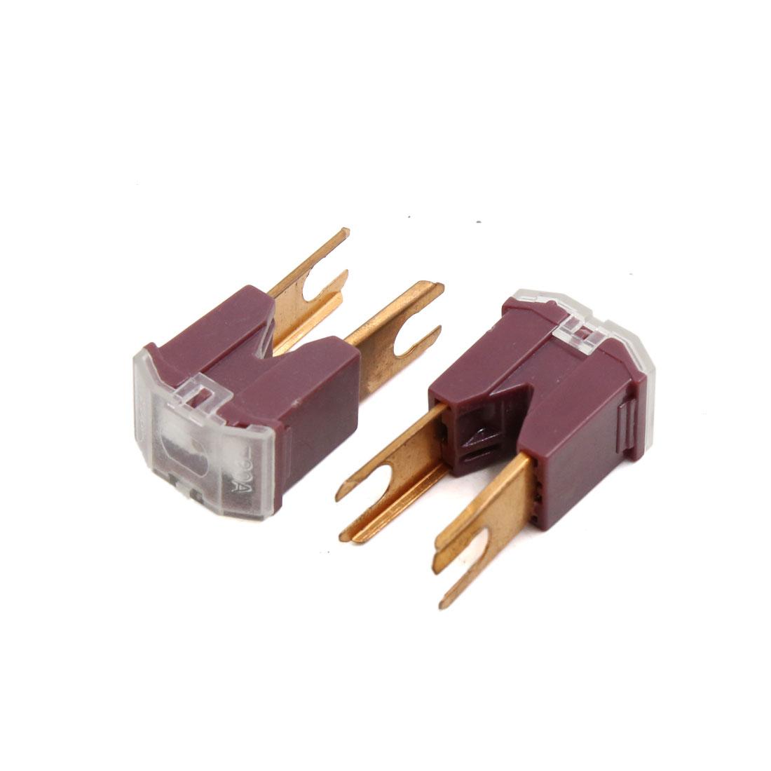 2pcs Purple Copper Tone 90A Straight Terminal Slow Blow Male PAL Fuse for Car
