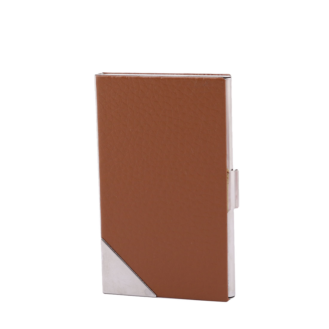 Office Worker Metal Business ID Card Case Holder Brown
