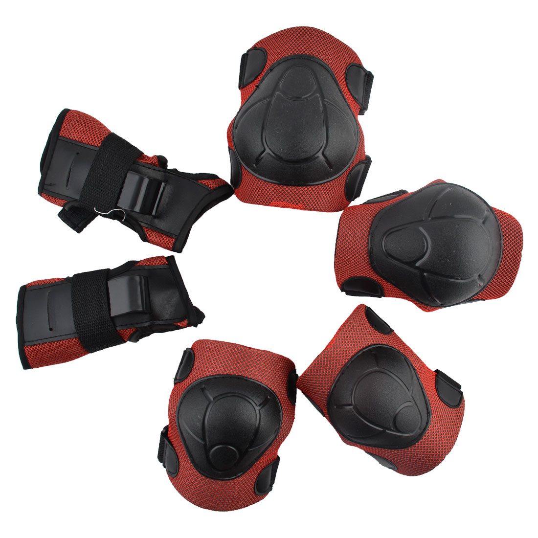 Sport Skating Palm Elbow Knee Support Guard Pad Protector Set Black Red 6 in 1