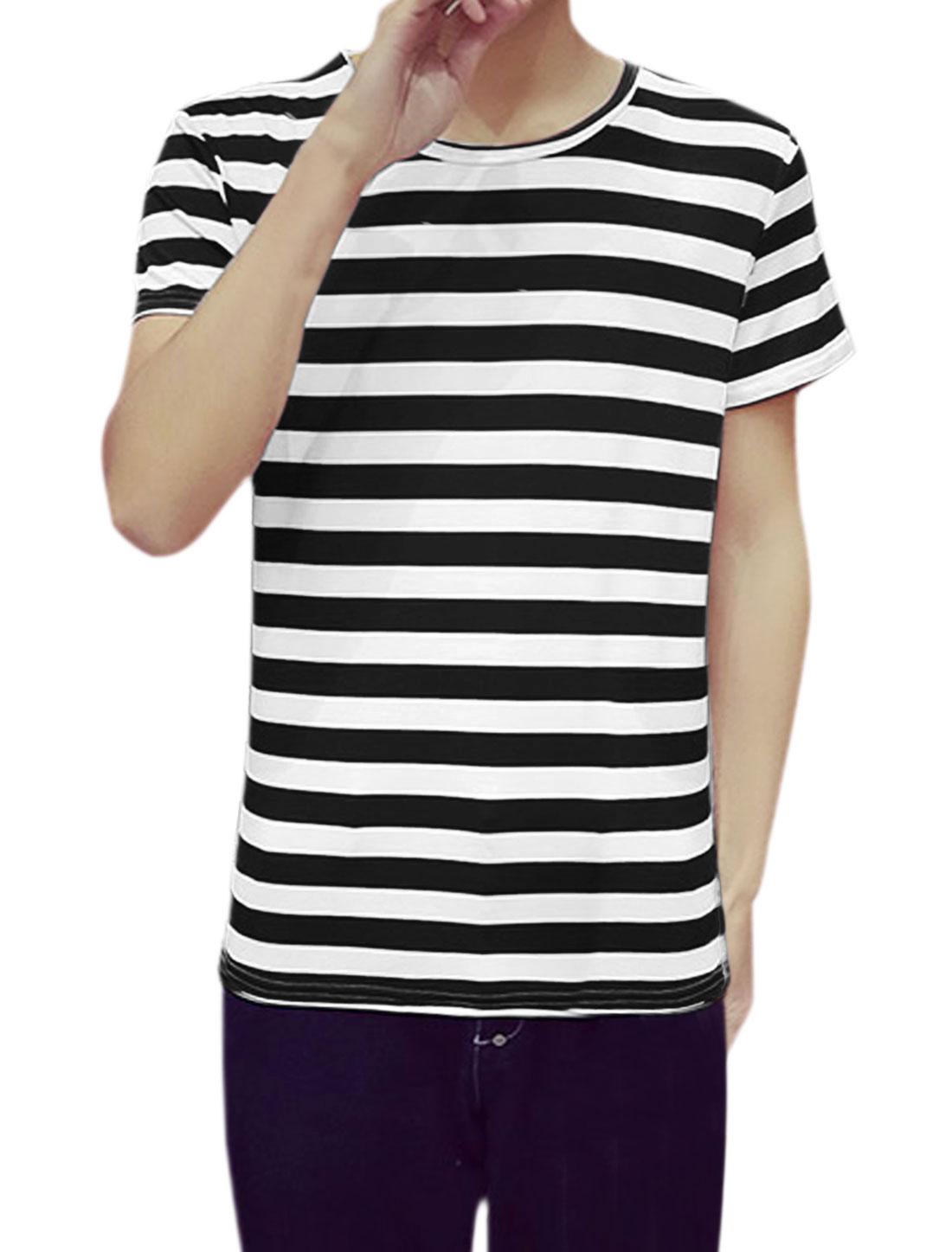 Men Color Block Crewneck Short Sleeve Print Striped T Shirt Black 44