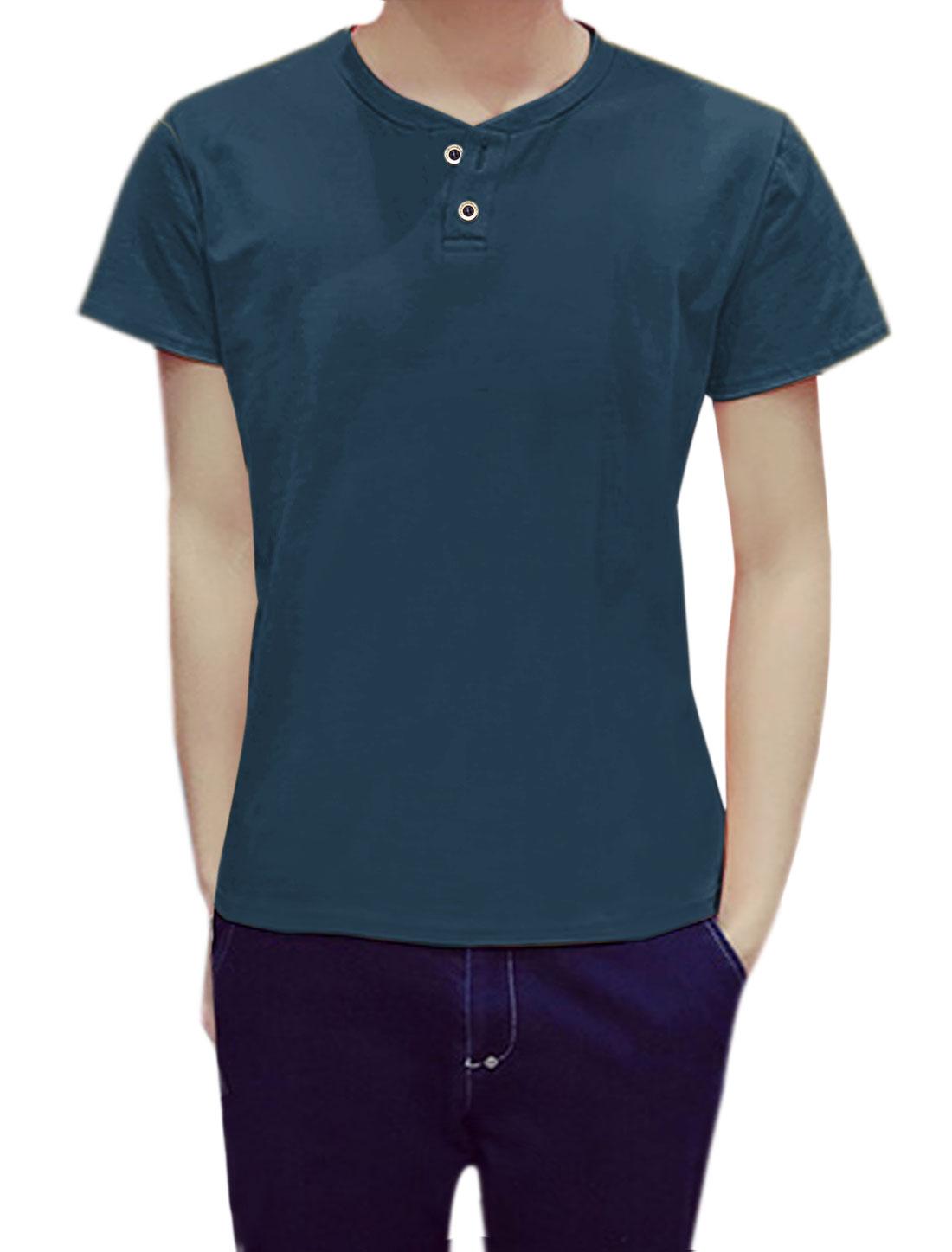 Men Short Sleeves Crew Neck Button Upper Henley T-Shirt Blue S