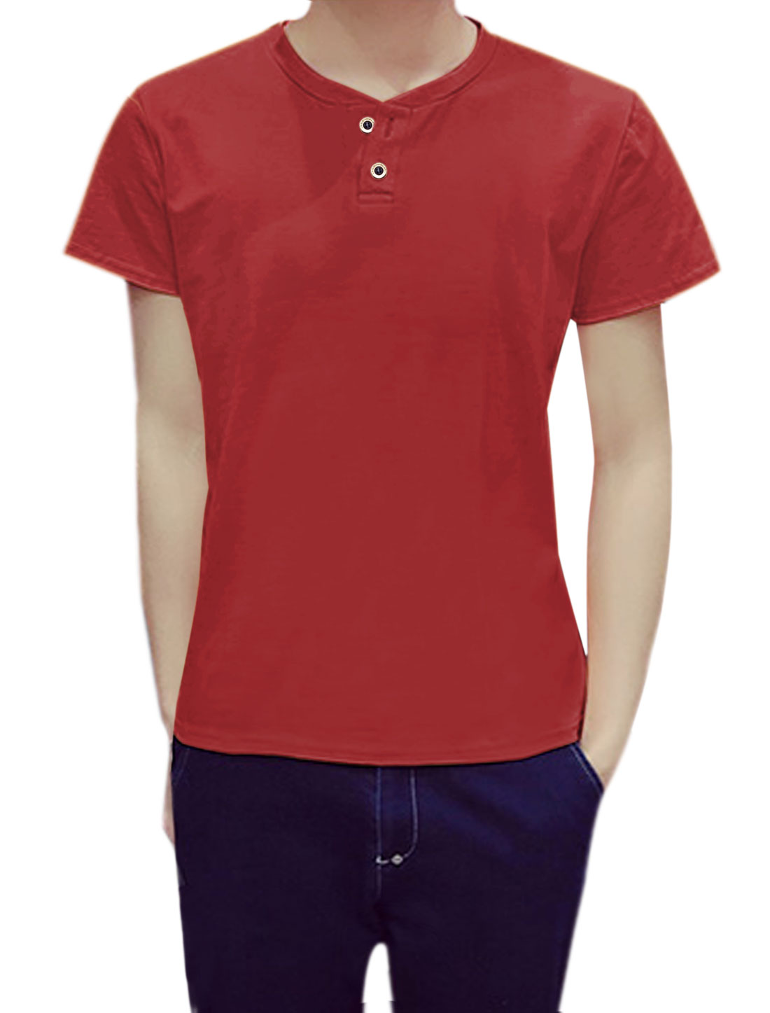 Men Short Sleeves Crew Neck Button Upper Henley T-Shirt Red S