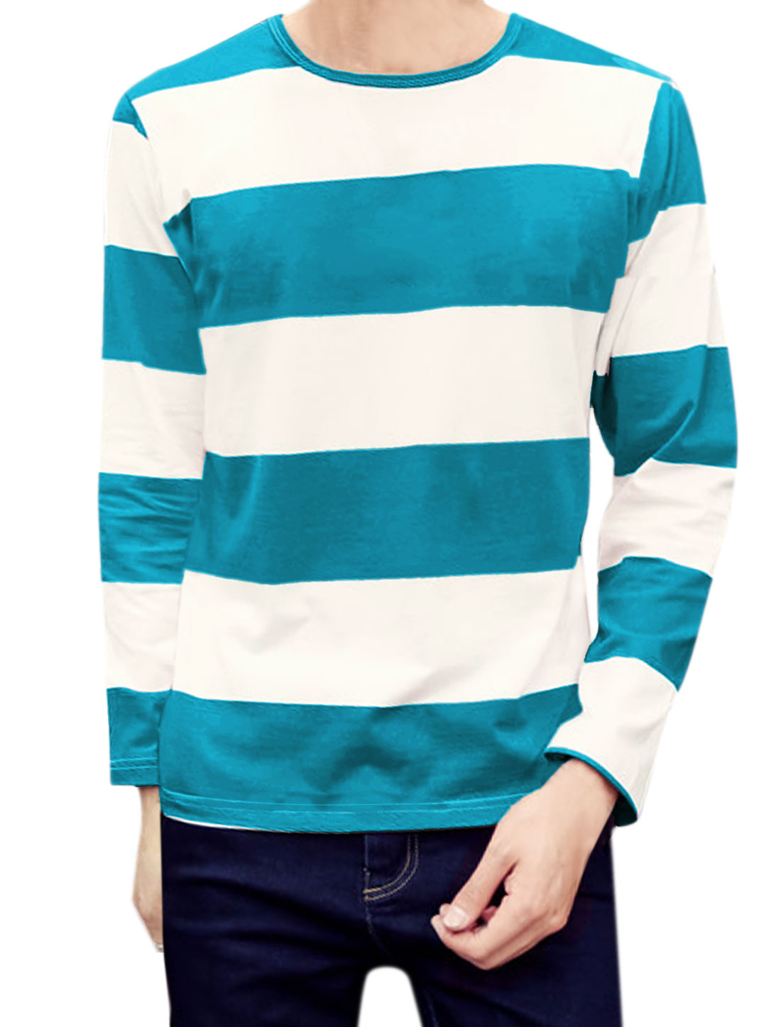 Men Crew Neck Long Sleeves Stripes T-Shirt Light Blue M