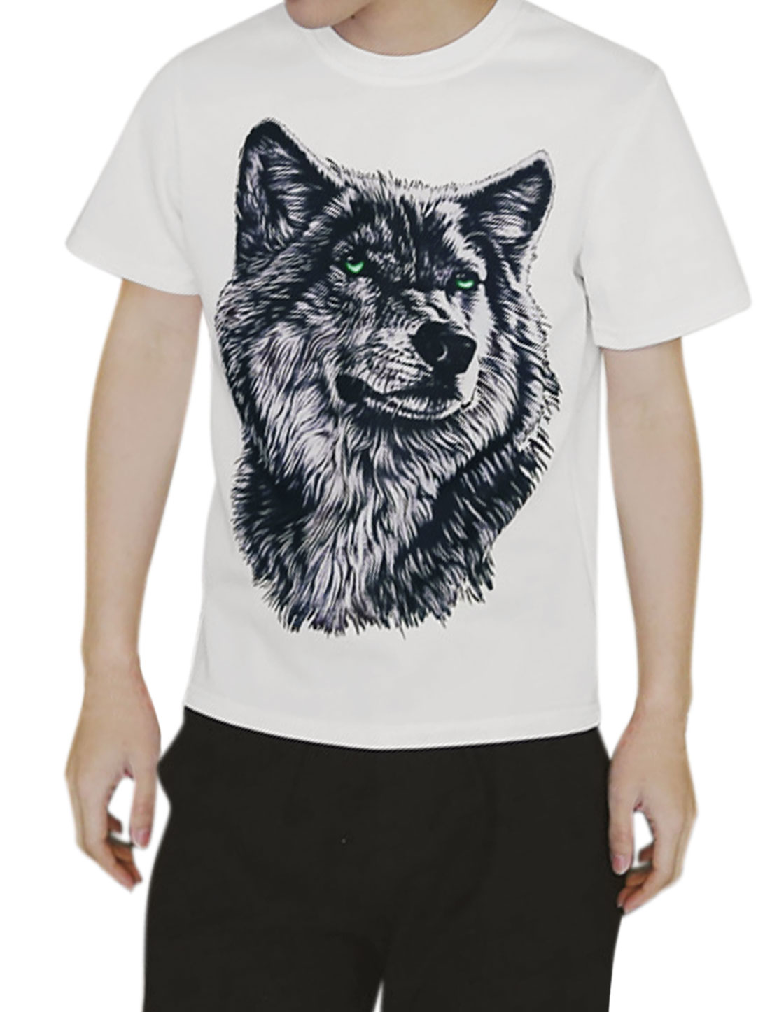 Men Short Sleeves Crew Neck Wolf Pattern T-Shirt White S
