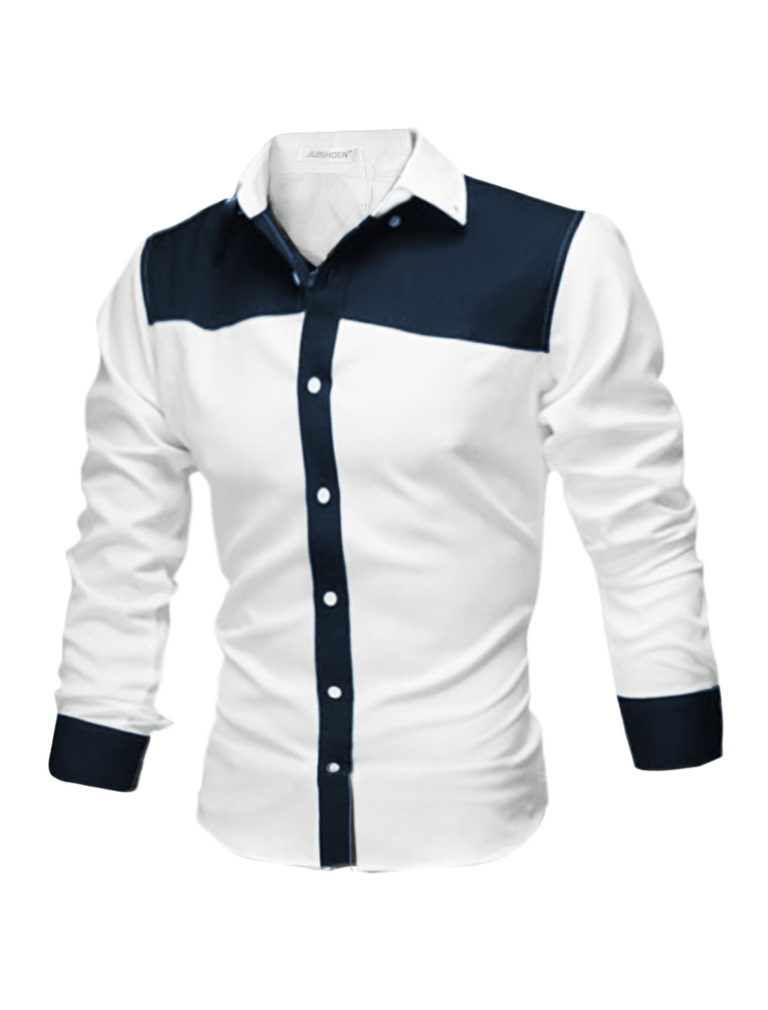 Men Collared Single Breasted Contrast Color Shirt White M