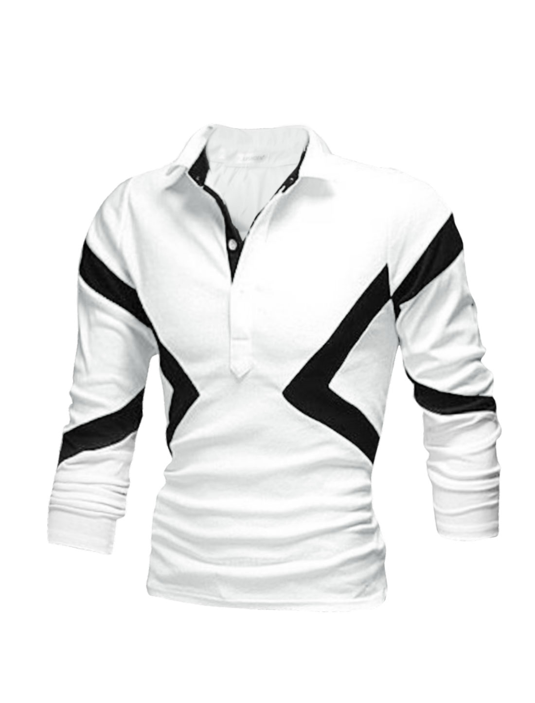 Man Collared Short Sleeves Contrast Color Slim Fit Polo Shirt White M