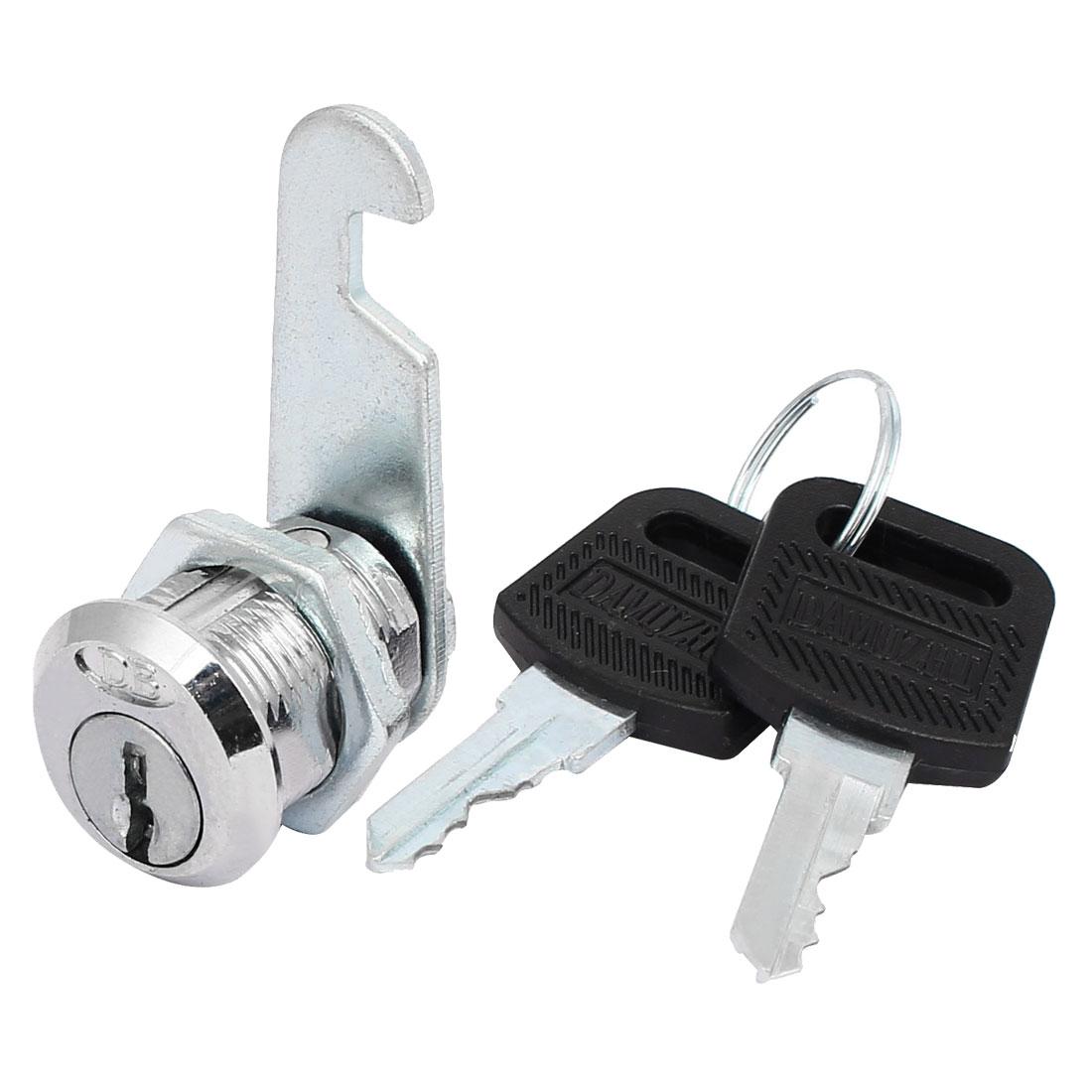 Wardrobe Cabinet Metal Tubular Cam Lock Lockset Silver Tone w 2 Keys