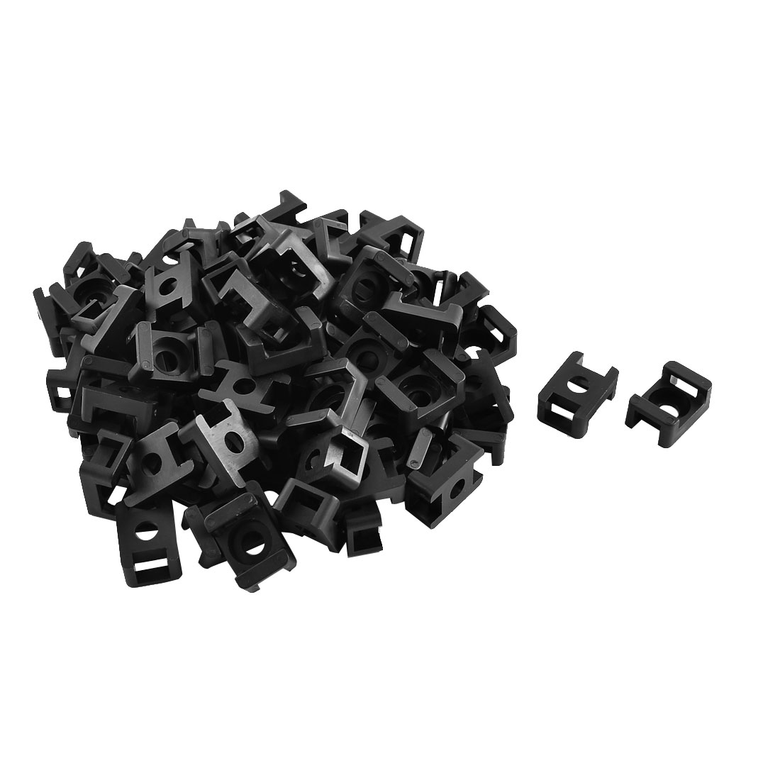 Saddle Type Cable Tie Base Mount Wire Holder Black 23 x 15 x 10mm 80pcs