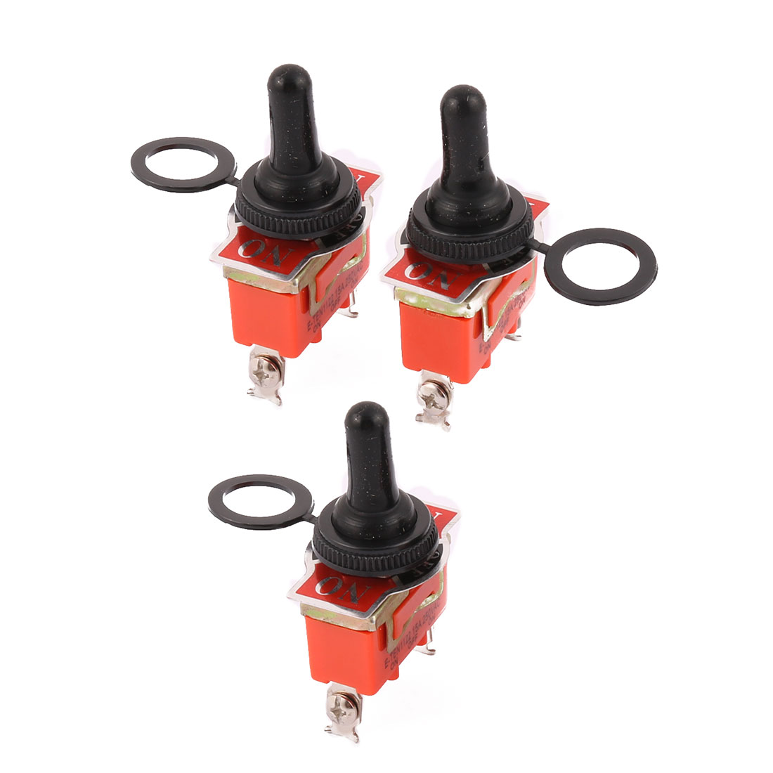 3 Pcs AC 250V SPDT ON/OFF/ON 3P Launching 3 Terminal Switch Orange w Cover