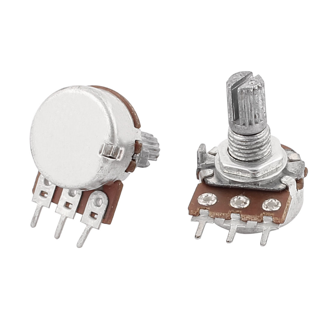 2 Pcs B10K 10k Ohm Linear Rotary Shaft Audio Taper Potentiometers