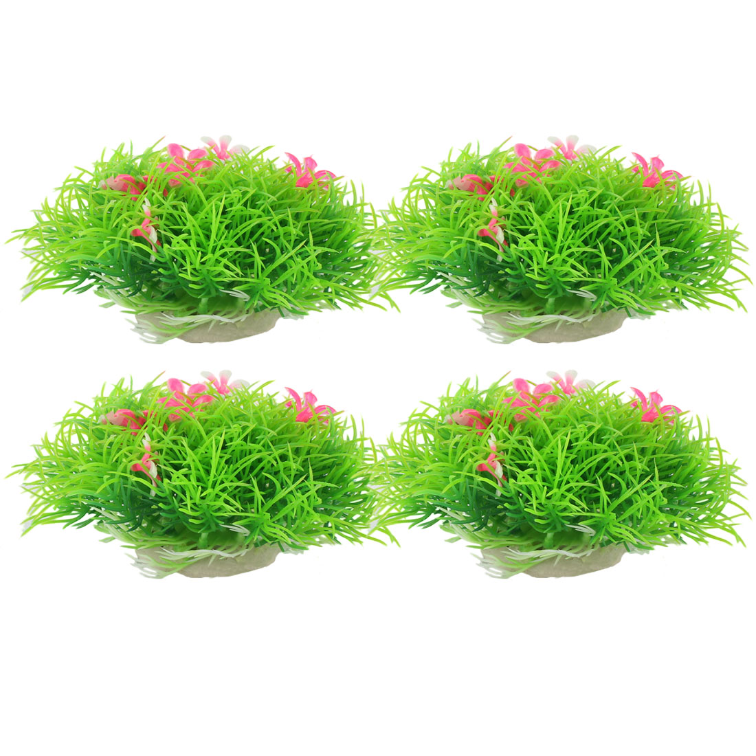 Fish Tank Aquarium Underwater Plastic Realistic Artificial Grass Ball Plant Ornament 4pcs