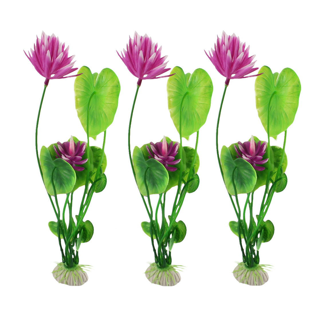 Underwater Fish Tank Aquarium Plastic Artificial Lotus Plant Ornament Decoration 3pcs
