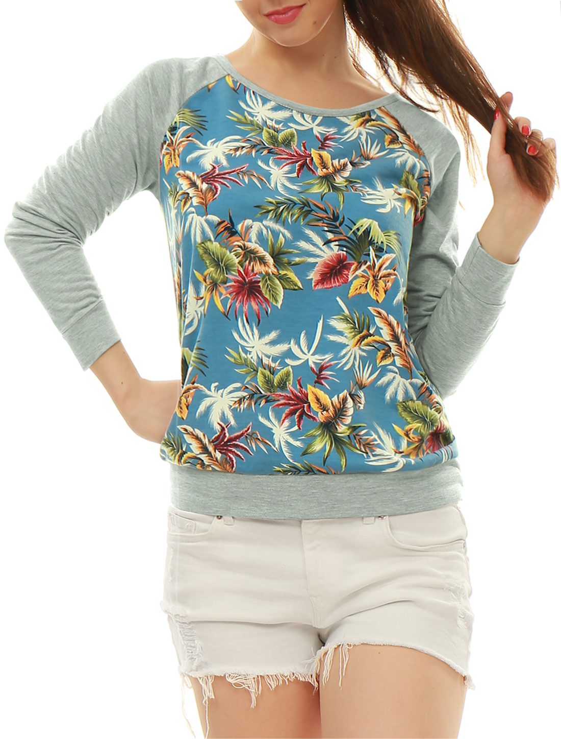 Woman Leaves Prints Color Block Raglan Sleeves Sweatshirt Sky Blue XL