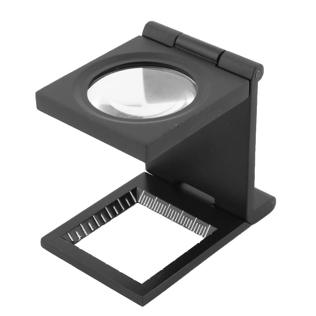Metal Frame Folding Magnifier Measure Scale 5X Magnifying Glass Black